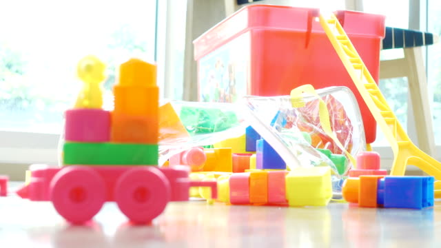 close-up toy blocks in the room - nursery school building stock videos and b-roll footage