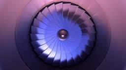 Closeup turbine engine front-end fan. 4K background