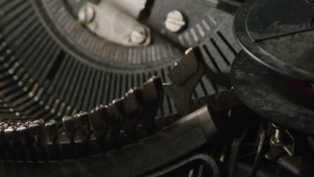 close-up. typing the old metal typewriter, retro style - file clerk stock videos & royalty-free footage