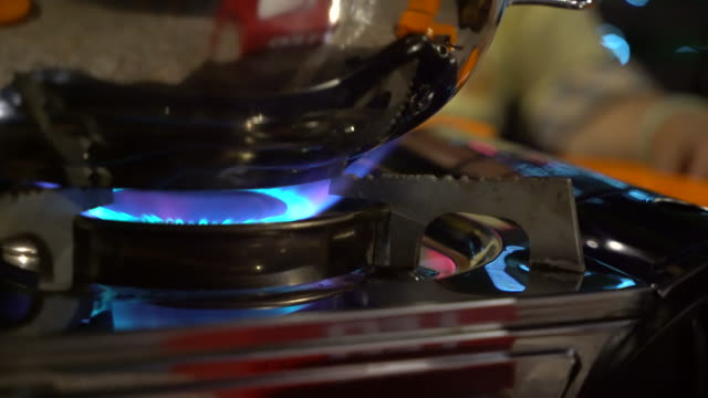closeup up shot on small gas stove - cylinder stock videos & royalty-free footage