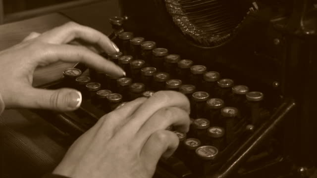 close-up -  very old typewriter - black and white stock videos & royalty-free footage