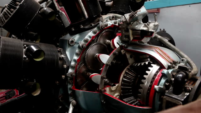 close-up video di jet engine dettaglio - motor video stock e b–roll