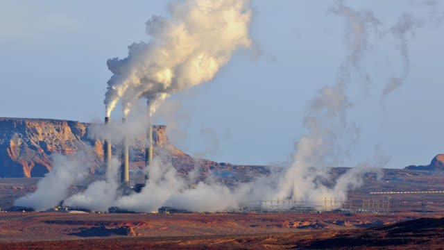 t/l close-up view of a coal-fired powerplant / page, arizona, usa - air pollution stock videos & royalty-free footage