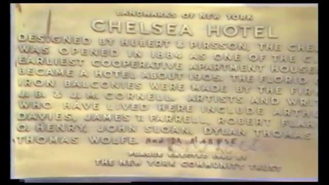 Closeup view of bronze plaques on the facade of the Chelsea Hotel including plaque in memory of Brendan Behan and the Chesea Hotel Landmarks of New...