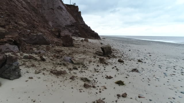 close-up view of rocks and coastal erosion in tunaston - eroded stock videos & royalty-free footage