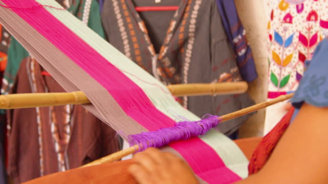 close-up view of traditional handloom weaving in zinacantan, chiapas, mexico - loom stock videos & royalty-free footage