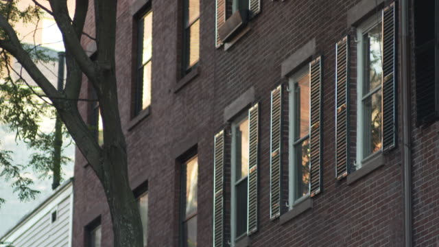 close-up view of windows with shutters in boston, massachusetts, usa. - shutter stock videos and b-roll footage
