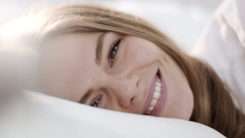 close-up, waking up with smile - sleeping stock videos & royalty-free footage
