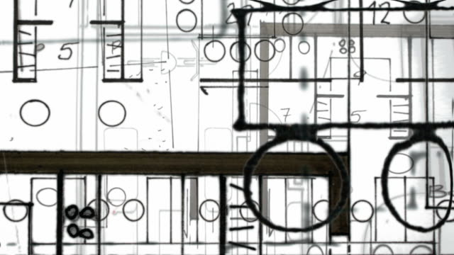 architecture building plan : close-up, white background (loop) - blueprint stock videos & royalty-free footage