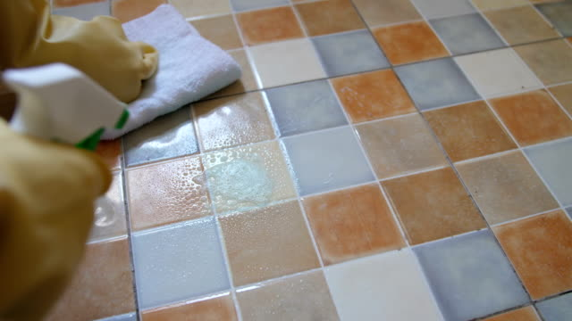 close-up woman cleaning tiled - disinfection stock videos & royalty-free footage