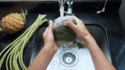 Close-up woman's hands washing broccoli at domestic kitchen