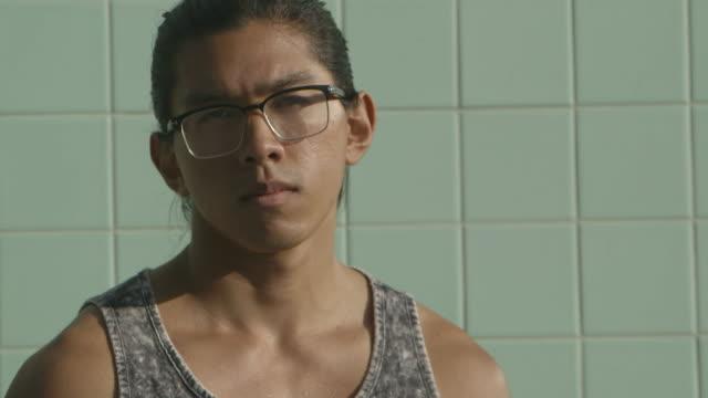 closeup young man - tank top stock videos & royalty-free footage