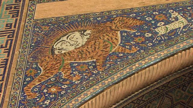 vídeos y material grabado en eventos de stock de close-ups of patterns and designs on the registan in uzbekistan - mosaico