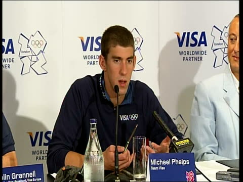 closing ceremony / handover to london: michael phelps press conference and interviews; - every city has had their big twist on the games / on what... - 2008年北京夏季オリンピック点の映像素材/bロール