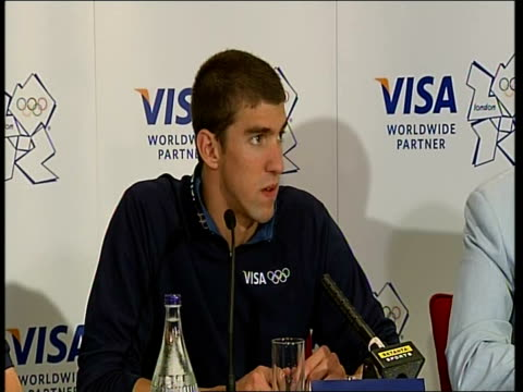 closing ceremony / handover to london: michael phelps press conference and interviews; michael phelps press conference sot - speaks about his... - 2008年北京夏季オリンピック点の映像素材/bロール