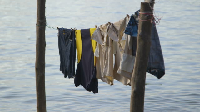 clothes line at a floating village, moresby - papua new guinea stock videos & royalty-free footage