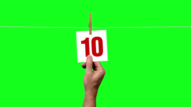 clothesline countdown 10 to 0 on green screen - number 9 stock videos & royalty-free footage