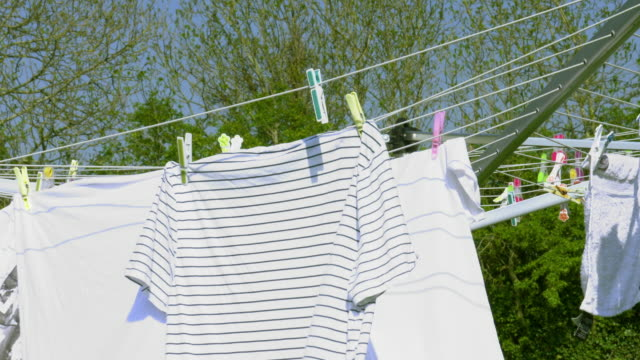 clothesline part 1 - washing line stock videos & royalty-free footage