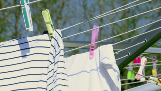 clothesline part 2 - washing line stock videos & royalty-free footage