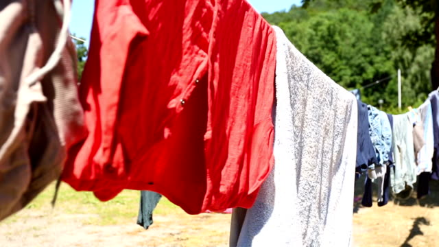 clothesline with clothes - camper trailer stock videos and b-roll footage