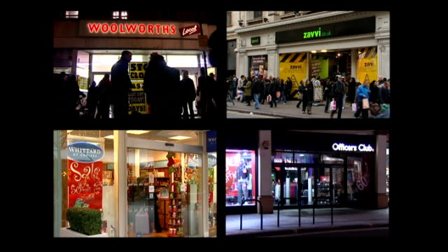 vídeos de stock, filmes e b-roll de clothing retailer adams close to collapse graphicised sequence woolworths zavvi whittards and officers club stores - woolworths