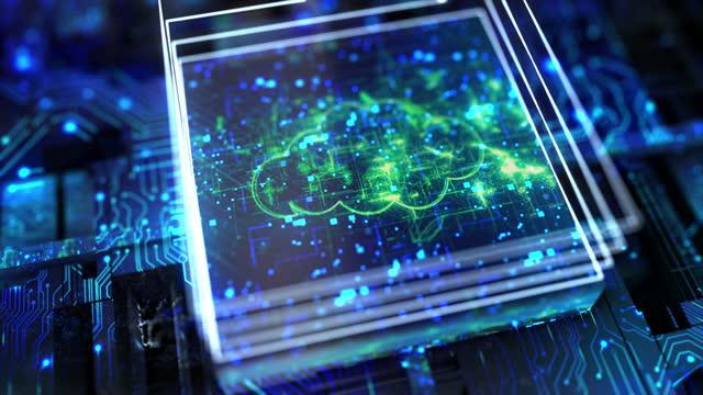 回路基板処理情報におけるクラウドコンピューティングの概念 - 中央演算処理装置点の映像素材/bロール