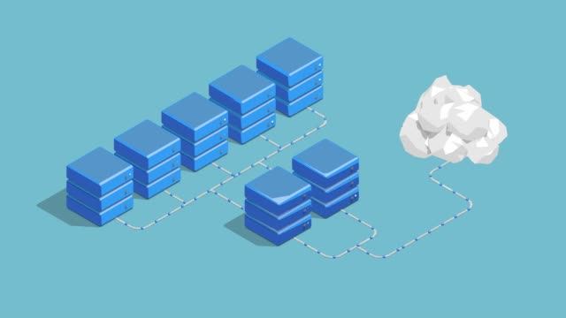 cloud computing datenserver loopable 3d animation - server stock-videos und b-roll-filmmaterial
