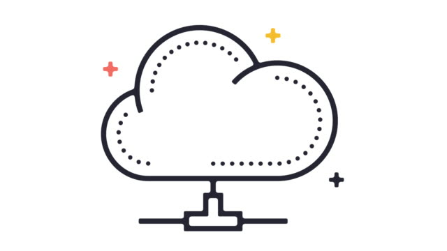 cloud computing icon animation - remote location icon stock videos & royalty-free footage