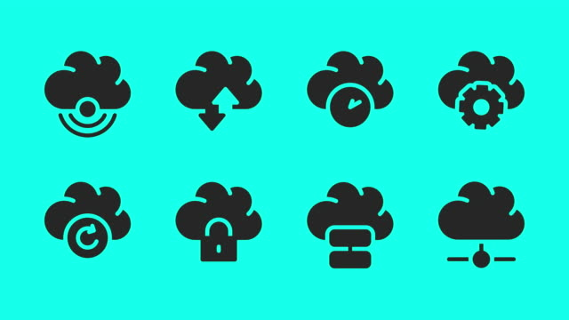 cloud computing icons - vector animate - global communications vector stock videos & royalty-free footage