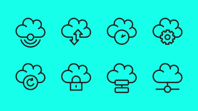 cloud computing line icons - vector animate - global communications vector stock videos & royalty-free footage