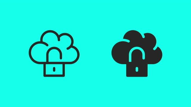 cloud computing locking icons - vector animate - global communications vector stock videos & royalty-free footage