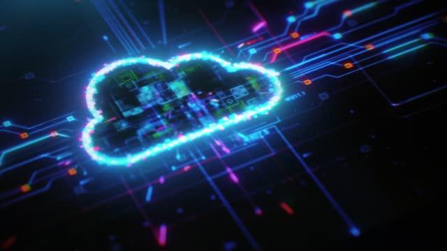 digitale cloud computing-lösung für den digitalen hintergrund - cloud computing stock-videos und b-roll-filmmaterial