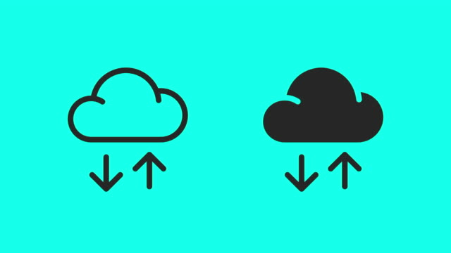 cloud data transfer icons - vector animate - cloud computing stock videos & royalty-free footage