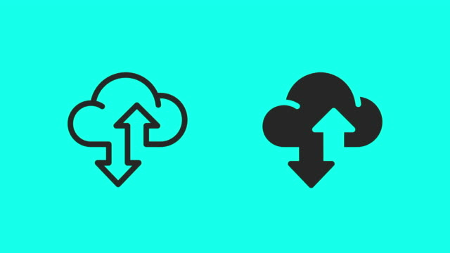 cloud data transfer icons - vector animate - global communications vector stock videos & royalty-free footage