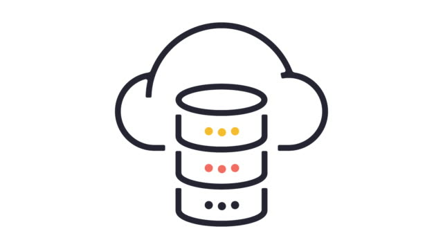 cloud database line icon animation - remote location icon stock videos & royalty-free footage