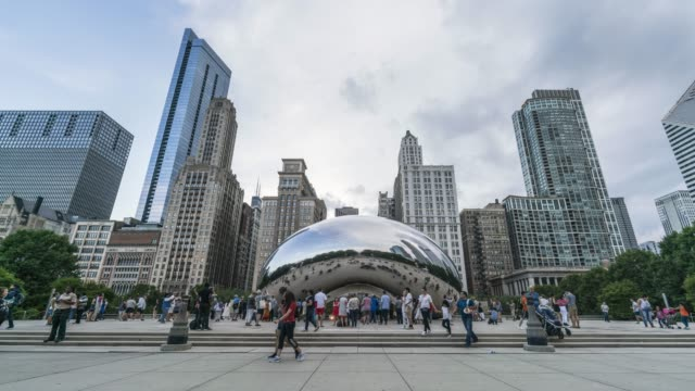 cloud gate time lapse - chicago - sculpture stock videos & royalty-free footage