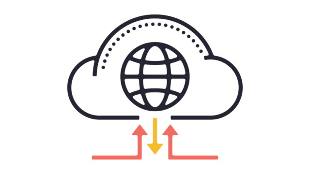 cloud hosting line icon animation - line art video stock e b–roll