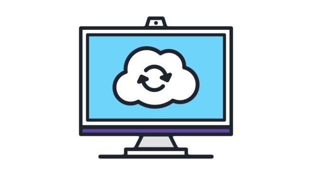 stockvideo's en b-roll-footage met cloud hosting plannen lijn pictogram animatie met alpha - uitwisselen