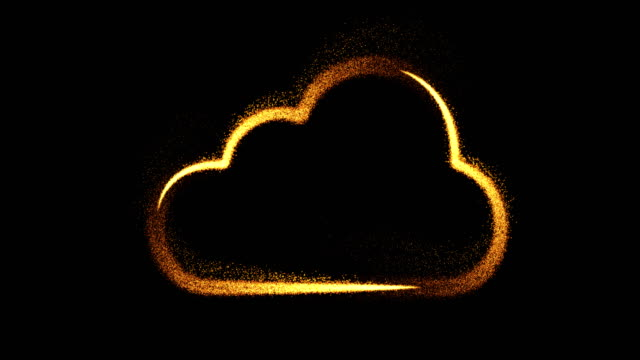 cloud internet symbol (loop 4k + alpha). particles fireworks slow motion - global communications icon stock videos & royalty-free footage