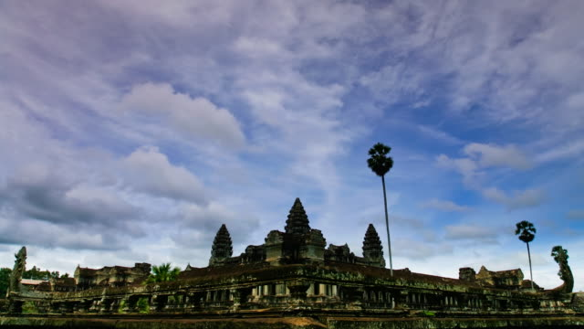 t/l, ws, cloud movement over angkor wat temple / siem reap, cambodia - cambodian culture stock videos and b-roll footage