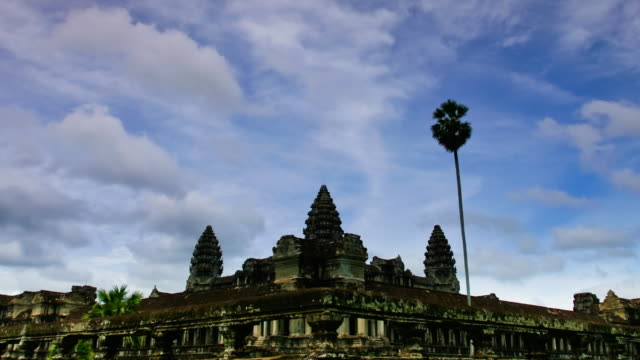 t/l, ws, zo, cloud movement over angkor wat temple / siem reap, cambodia - cambodian culture stock videos and b-roll footage