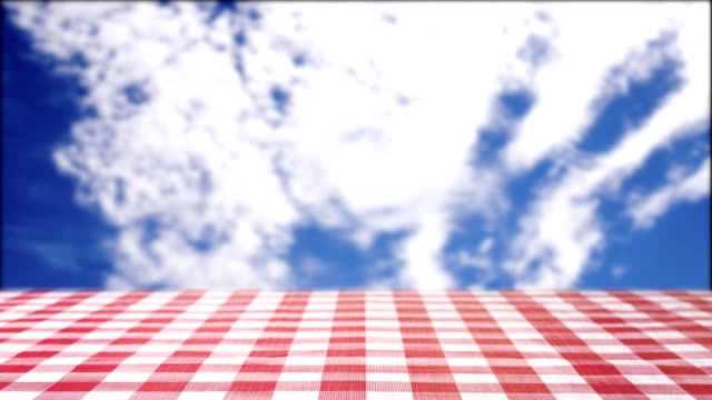 Cloud moving above picnic table ready for text.