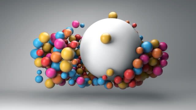 cloud of colorful balls and a big white ball - ball stock videos & royalty-free footage
