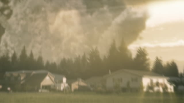 A cloud of volcano ash and debris overtakes a neighborhood.