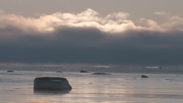 cloud over arctic sea and coast, canada - clima polare video stock e b–roll