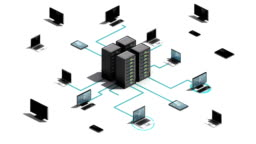 Cloud server connecting server system. Internet of things technology.