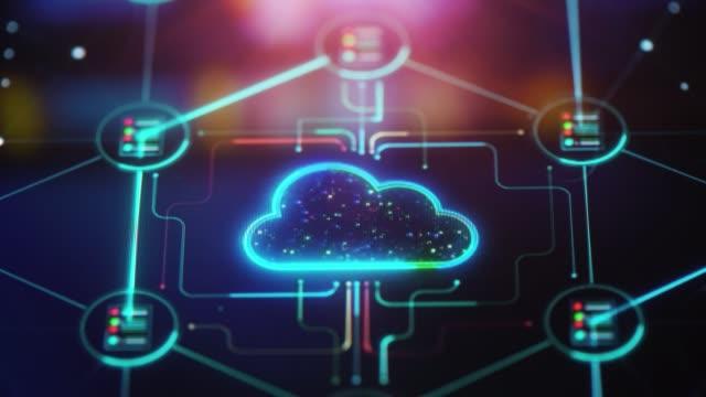 vídeos de stock, filmes e b-roll de fundo de tecnologia em nuvem - segurança de rede