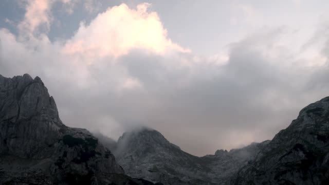 cloud timelapse at sunset in durmitor national park - durmitor national park stock videos & royalty-free footage