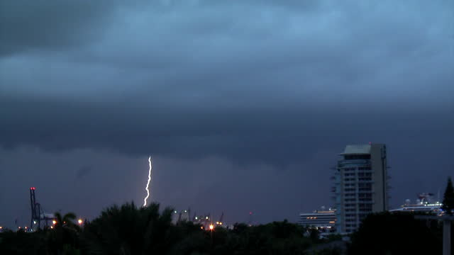 cloud to ground lightning strikes the ground over fort lauderdale during a severe thunderstorm on june 29 fort lauderdale, florida. - dramatic sky stock videos & royalty-free footage