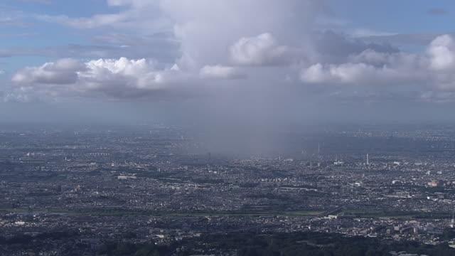 aerial, cloudburst, tokyo, japan - meteo estremo video stock e b–roll
